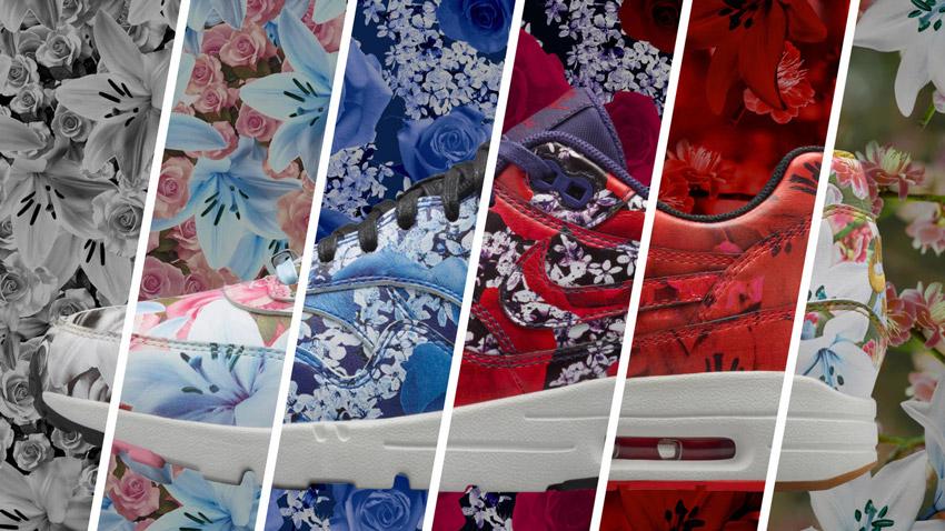 Nike Air Max 1 Ultra City – New York, Paris, Tokyo, London, Milan, Shanghai – dámské boty, barevné tenisky s květinovými vzory
