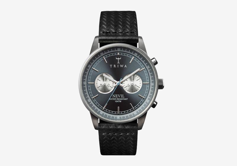 Triwa – hodinky – dámské a pánské – černý kožený řemínek, šedé ocelové pouzdro, černý ciferník – Ash Nevil