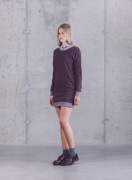 Wemoto – dámský pulovr, tmavě fialový dlouhý svetr – jaro/léto 2015