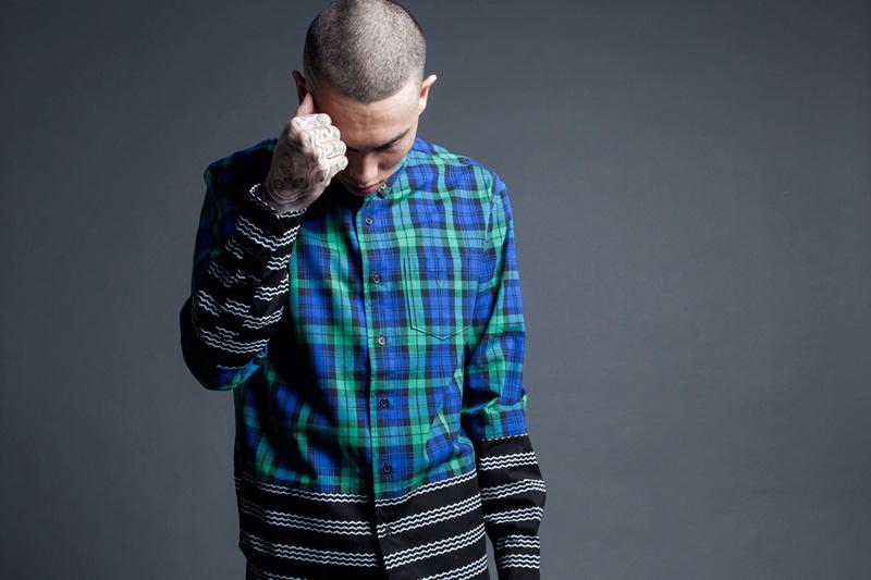 Black Scale – kotkovaná (károvaná) flanelová pánská košile s dlouhým rukávem – modro-zelená – jaro 2015