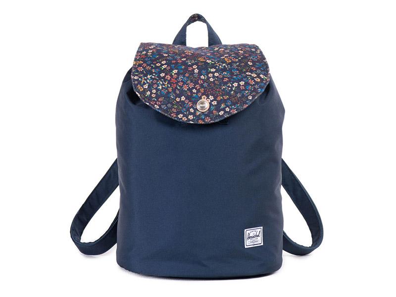 Dámský batoh na záda Herschel Supply x Liberty — modrý, s květinovými vzory, plátěný (bavlněný) — Ware