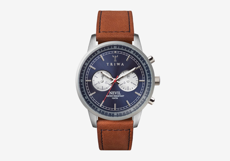 Triwa – náramkové hodinky – modrý ciferník, hnědý kožený náramek, ocelové pouzdro – pánské a dámské – Blue Steel Nevil