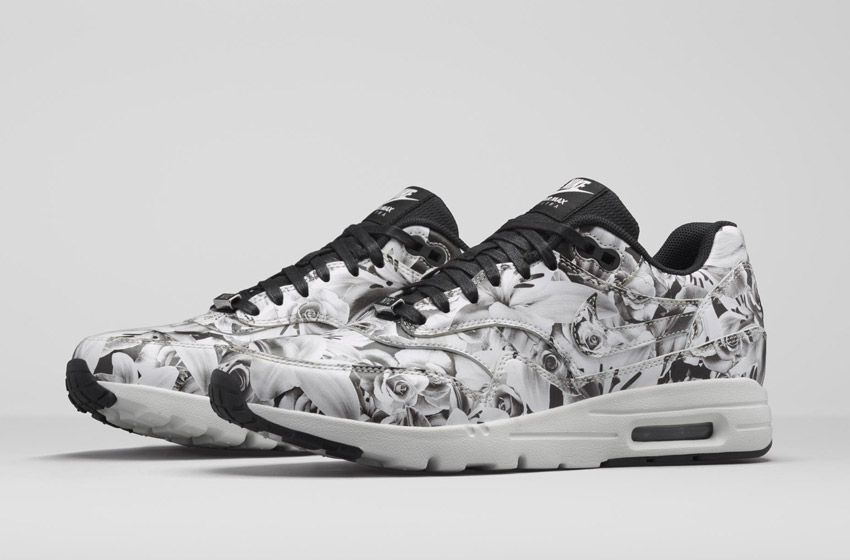 Nike Air Max 1 Ultra City – New York – dámské boty, barevné tenisky s květinovými vzory – šedé – sneakers