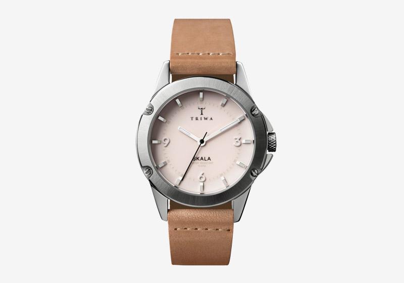 Triwa – dámské – hodinky – ocelové pouzdro, hnědý kožený náramek – Blush Skala