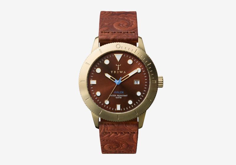 Triwa – náramkové hodinky – pozlacené pouzdro, hnědý kožený náramek, hnědý ciferník – pánské a dámské – Chestnut Hvalen