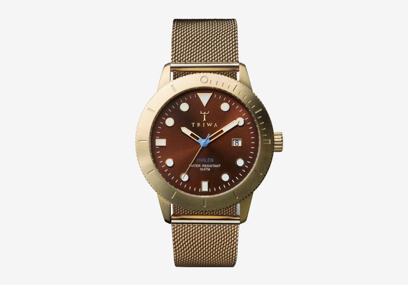 Triwa – dámské a pánské – hodinky – pozlacené, zlaté, hnědý ciferník – Chestnut Hvalen