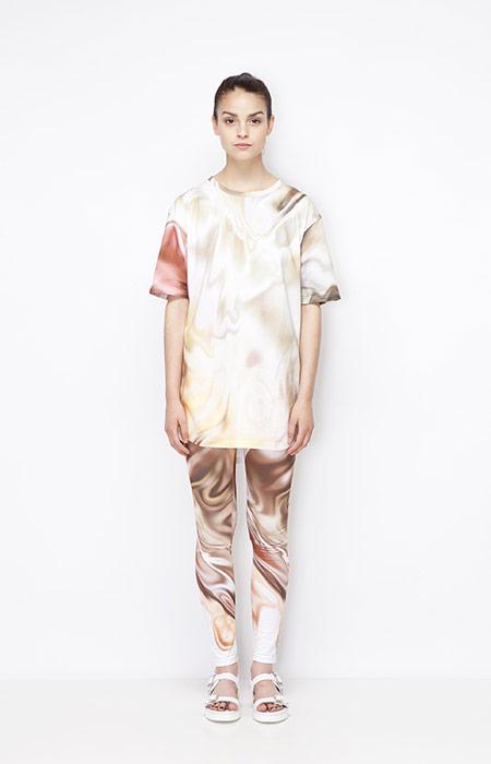 Ucon Acrobatics — dámské tričko a legíny se vzorem — olejomalba — dámské oblečení — jaro/léto 2015