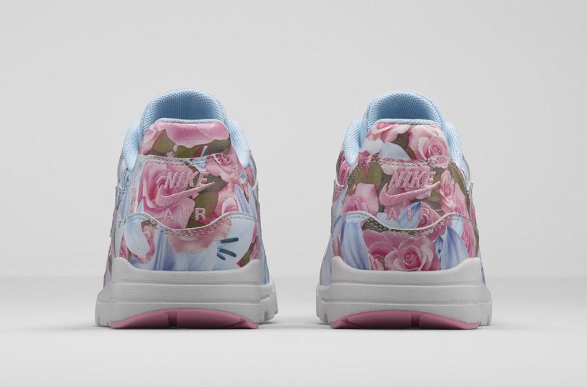 Nike Air Max 1 Ultra City – Paris – dámské boty, barevné tenisky s květinovými vzory – modro-růžové – sneakers