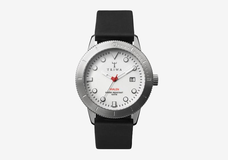 Triwa – hodinky – dámské a pánské – ocelové pouzdro, bílý ciferník, černý náramek – Ivory Hvalen