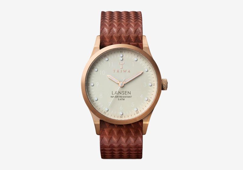 Triwa – dámské hodinky, náramkové – pozlacené pouzdro, hnědý kožený řemínek – Ivory Lansen