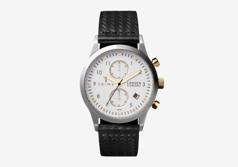Triwa – hodinky – dámské a pánské – ocelové pouzdro, bílý ciferník, černý kožený řemínek – Ivory Lansen Chrono