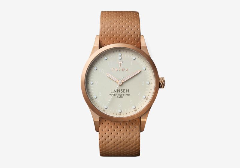 Triwa – dámské – hodinky – zlaté, pozlacené, hnědý kožený náramek – Ivory Lansen