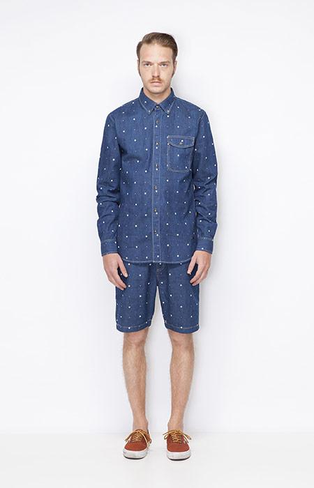 Ucon Acrobatics – pánské modré jeansové (džínové) šortky, pánská modrá jeansová košile – dlouhý rukáv, denim – oblečení jaro/léto 2015
