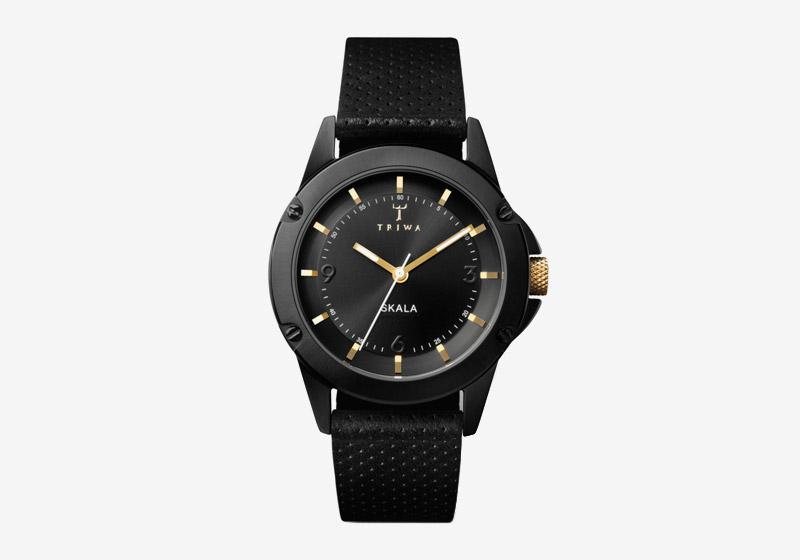 Triwa – náramkové hodinky – černé, kožený řemínek – pánské a dámské – Midnight Skala