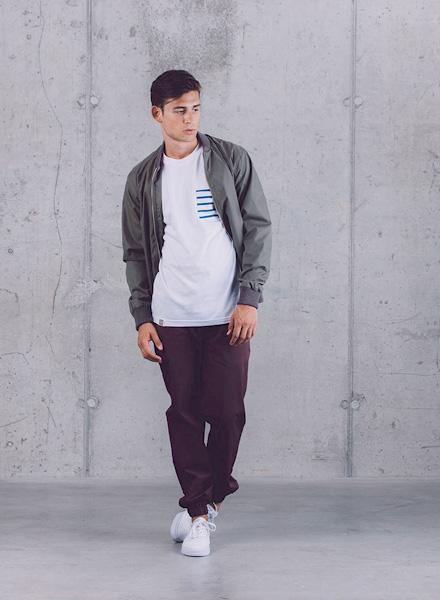 Wemoto – šedo-zelený pánský bomber (bunda do pasu), bordó kalhoty joggers – pánské – jaro/léto 2015