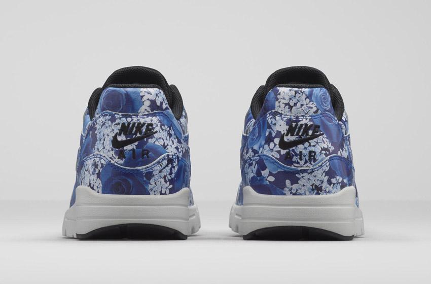 Nike Air Max 1 Ultra City – Tokyo – dámské boty, barevné tenisky s květinovými vzory – modré – sneakers