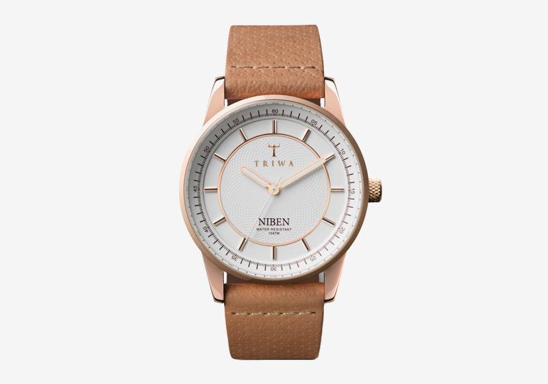 Triwa – hodinky – dámské – bílý ciferník, hnědý kožený řemínek – Rose Niben