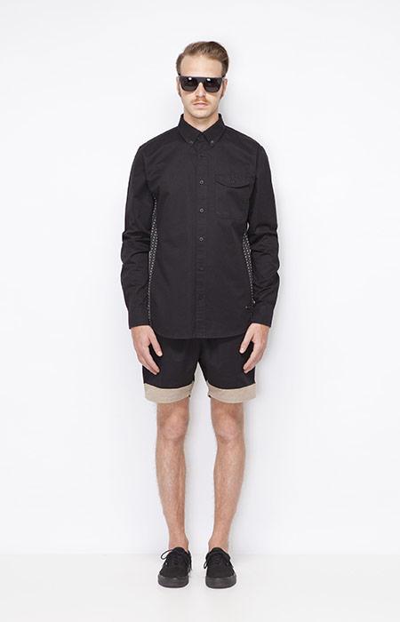 Ucon Acrobatics – pánská černá košile s dlouhým rukávem, černé pánské šortky – oblečení jaro/léto 2015