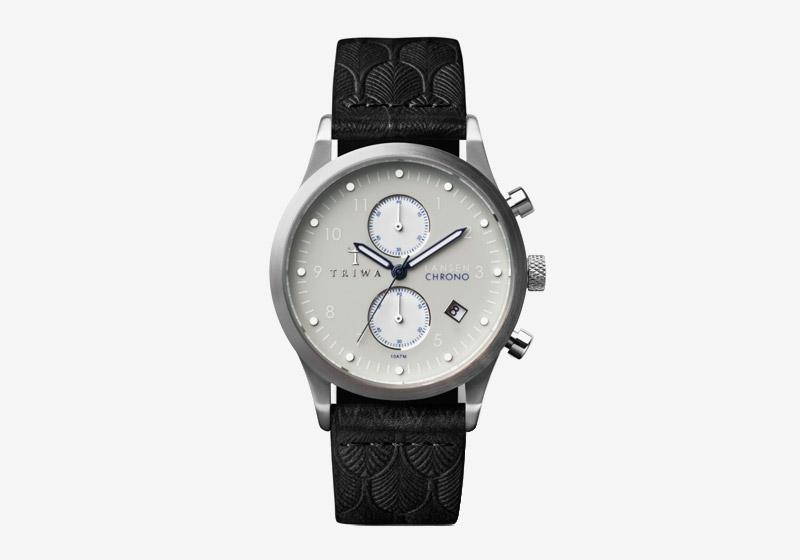 Triwa – dámské a pánské – hodinky – ocelové šedé pouzdro, šedý ciferník, černý kožený náramek – Shade Lansen Chrono