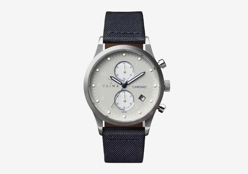 Triwa – náramkové hodinky – tmavě modrý řemínek, ocelové šedé pouzdro, šedý ciferník – pánské a dámské – Shade Lansen Chrono