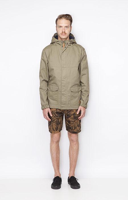 Ucon Acrobatics – pánská jarní bunda s kapucí – bledě zelená, šortky s rostlinným motivem – Monstera – oblečení jaro/léto 2015