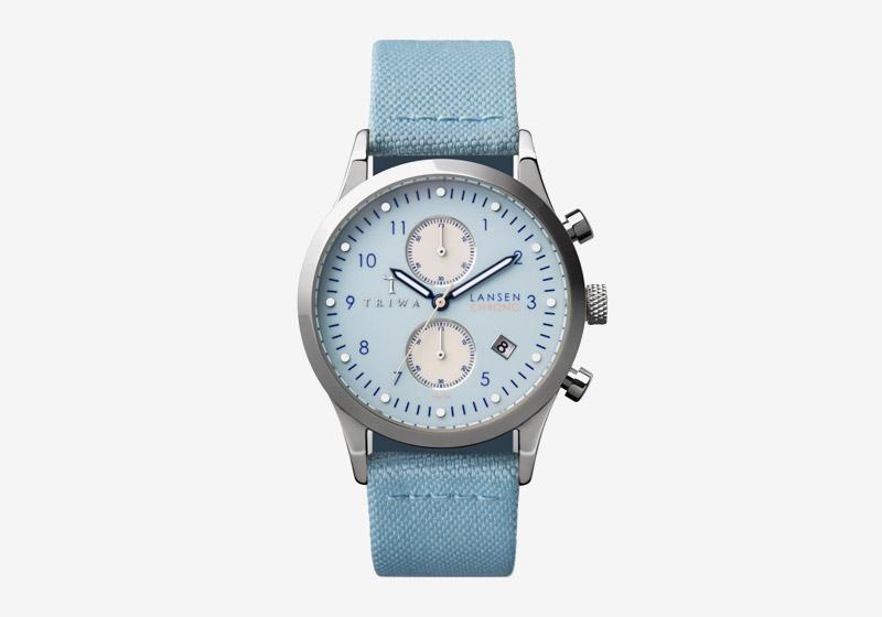 Triwa – hodinky – dámské a pánské – světle modrý řemínek, modrý ciferník, ocelové pouzdro – Sky Lansen Chrono