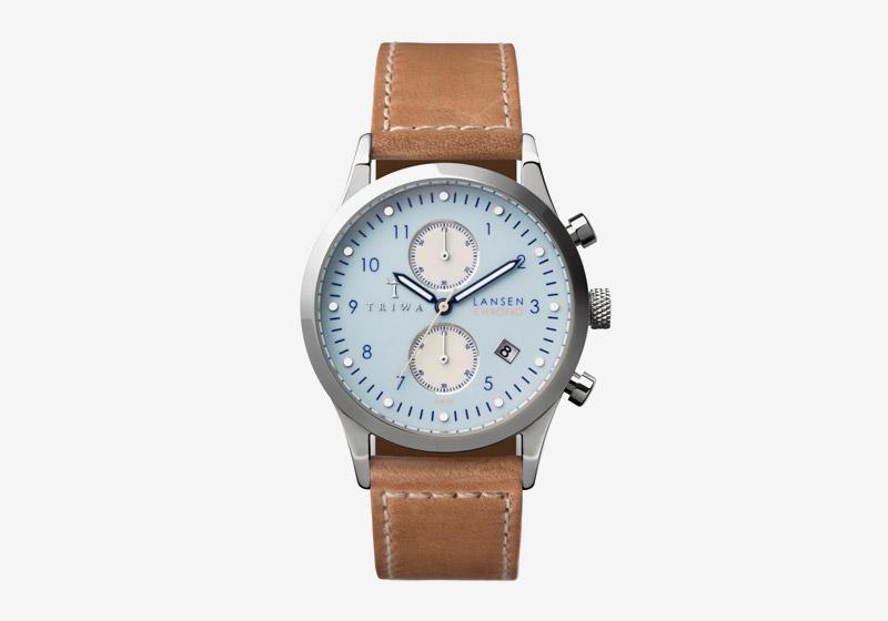 Triwa – dámské a pánské – hodinky – bledě modrý ciferník, hnědý kožený řemínek, ocelové pouzdro – Sky Lansen Chrono