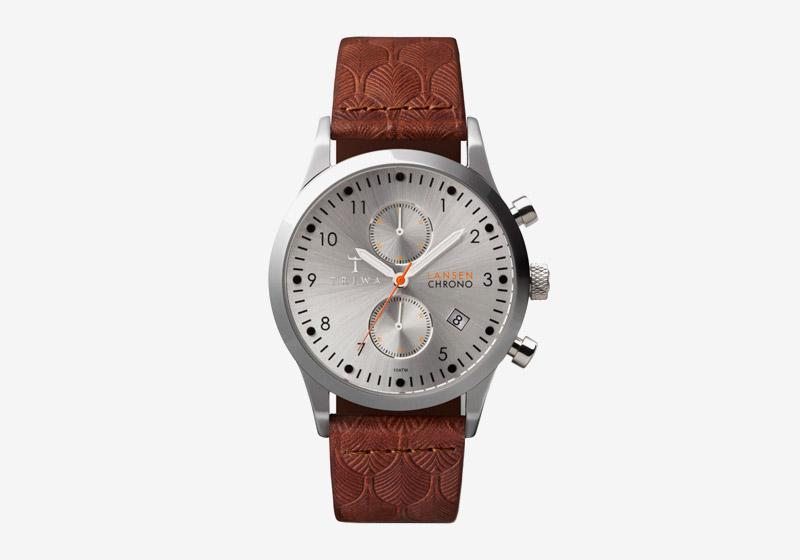 Triwa – náramkové hodinky – pánské – šedé ocelové pouzdro a ciferník, kožený náramek – hnědý – Stirling Lansen Chrono