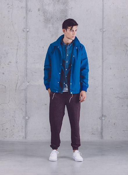 Wemoto – bordó tepláky s úplety, modrá jarní bunda – pánská – jaro/léto 2015