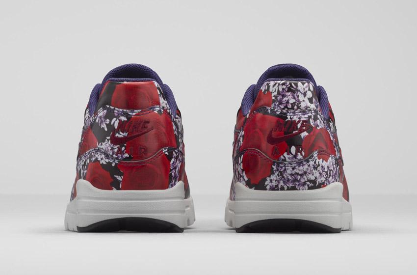 Nike Air Max 1 Ultra City – London – dámské boty, barevné tenisky s květinovými vzory – červené – sneakers