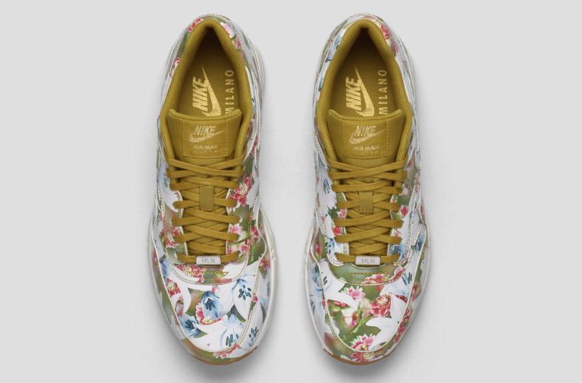 Nike Air Max 1 Ultra City – Milan – dámské boty, barevné tenisky s květinovými vzory – zeleno-bílé – sneakers