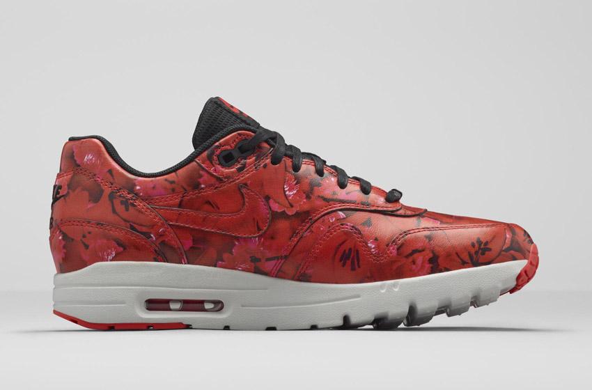 Nike Air Max 1 Ultra City – Shanghai – dámské boty, barevné tenisky s květinovými vzory – červené – sneakers