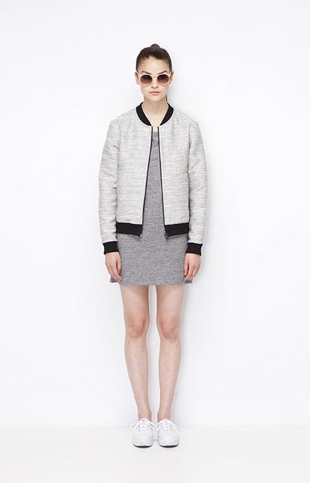 Ucon Acrobatics — dámský šedý bomber (krátká jarní bunda do pasu), šedé letní šaty — dámské oblečení — jaro/léto 2015