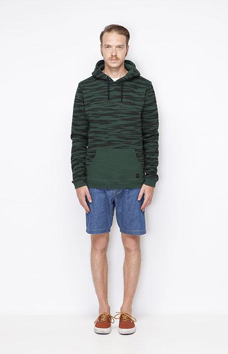 Ucon Acrobatics – zelená mikina s kapucí, jeansové šortky – pánské – oblečení jaro/léto 2015