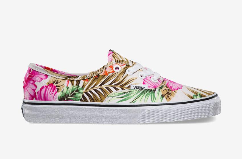 Vans – Authentic Hawaiian Floral – dámské letní boty, Vansky, plátěné tenisky, kecky, barevné rostlinné motivy