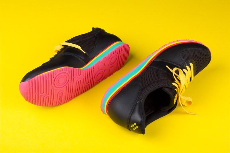 Botas 66 — Run — Disco Freak — černé běžecké boty, kožené retro tenisky, dámské a pánské, barevná podrážka