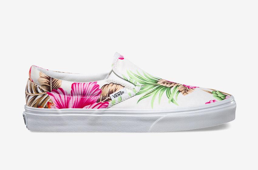 Vans – Slip-On Hawaiian Floral – dámské boty, letní Vansky, tenisky, plátěné kecky, barevné rostlinné motivy