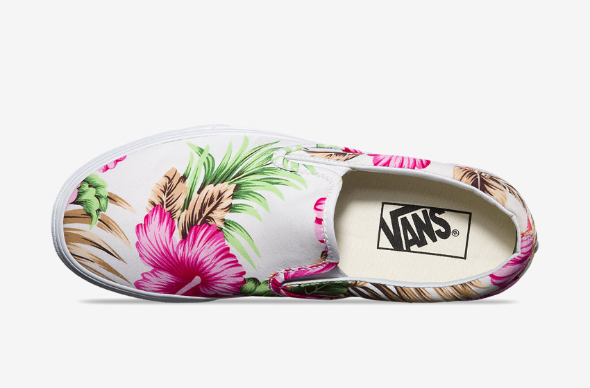 Vans – Slip-On Hawaiian Floral – dámské Vansky, boty, plátěné tenisky, barevné rostlinné motivy