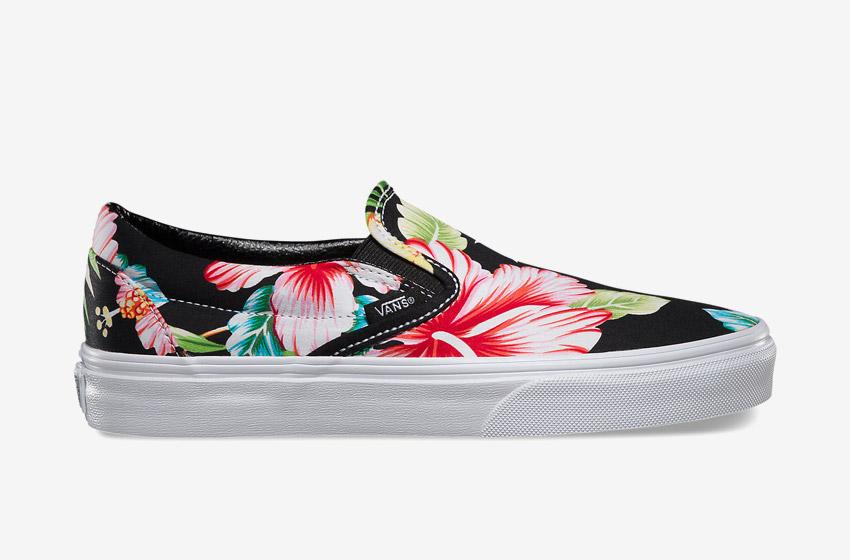 Vans – Slip-On Hawaiian Floral – dámské letní boty, Vansky, plátěné tenisky, černé kecky, barevné rostlinné motivy