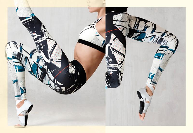 NikeLab x JFS — dámské sportovní legíny – černo-bílé, s motivy — dámské letní sportovní oblečení