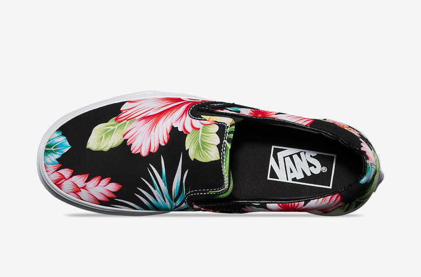 Vans – Slip-On Hawaiian Floral – dámské Vansky, černé boty, plátěné tenisky, kecky, barevné rostlinné motivy