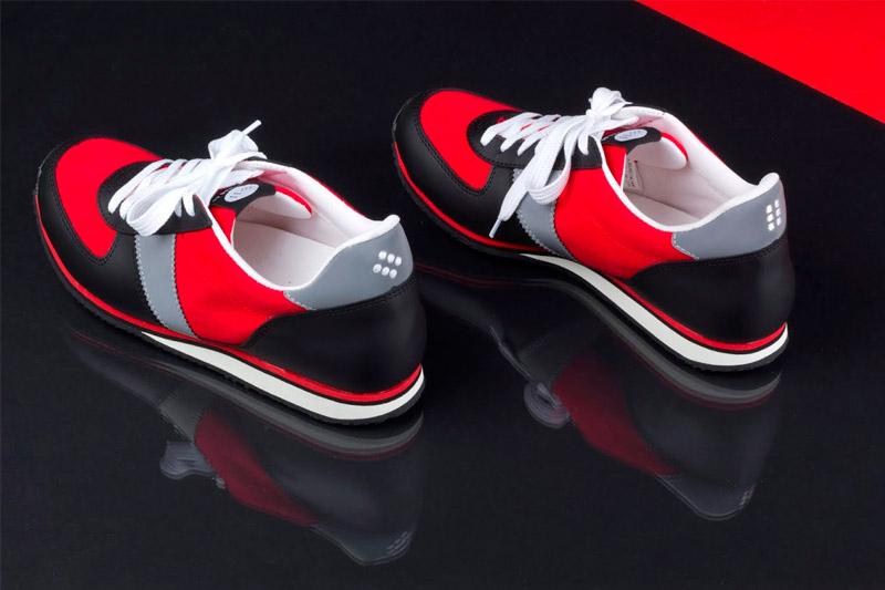 Botas 66 — Run — Street Fighter — červeno-šedo-černé běžecké boty, kožené retro tenisky, dámské a pánské, barevná podrážka