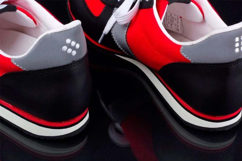 Botas 66 — Run — Street Fighter — dámské a pánské kožené běžecké tenisky, červeno-šedo-černé