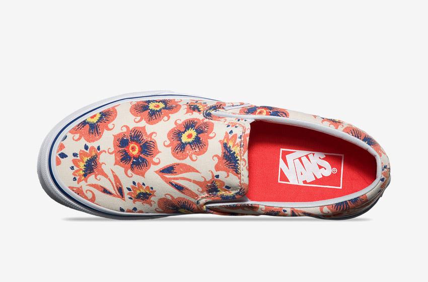 Vans – Slip-On Vintage Floral – dámské Vansky, boty, plátěné letní tenisky, kecky, modro-oranžové rostlinné motivy