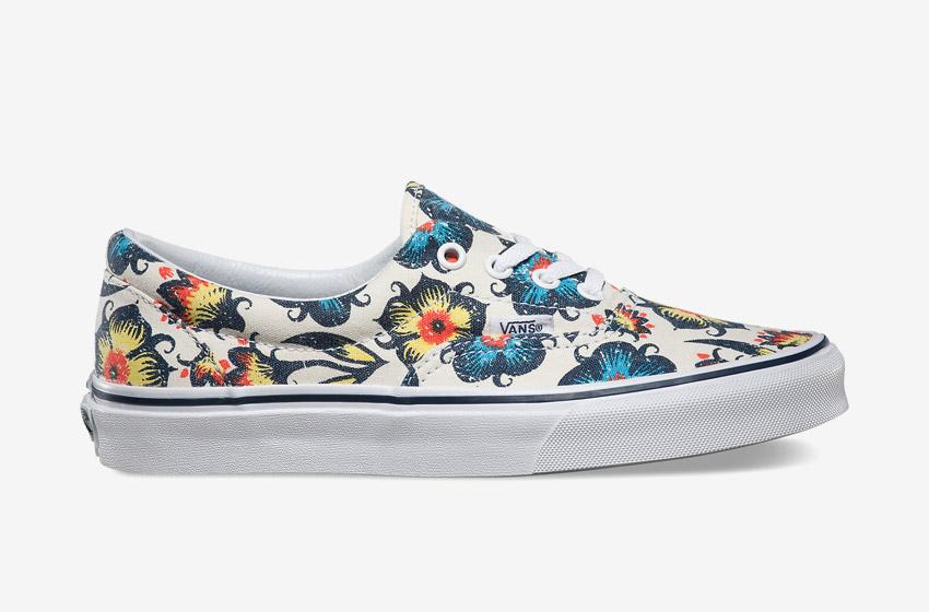 Vans – Era Vintage Floral – dámské letní boty, Vansky, plátěné tenisky, kecky, modro-žluté rostlinné motivy