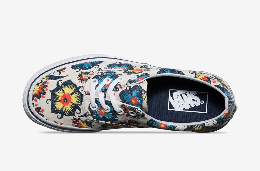 Vans – Era Vintage Floral – dámské Vansky, boty, plátěné letní tenisky, modro-žluté rostlinné motivy