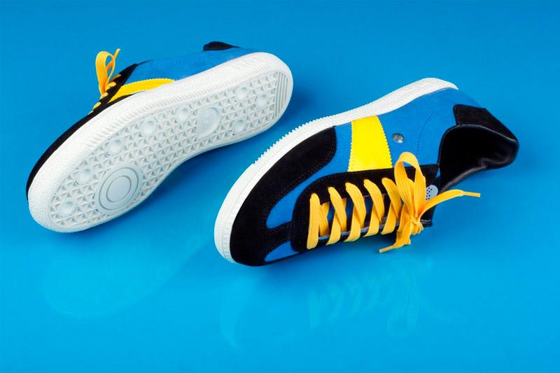 Botas 66 — Urban — Molotov Night — černo-modré retro tenisky, semišové boty, bílá podrážka, dámské a pánské