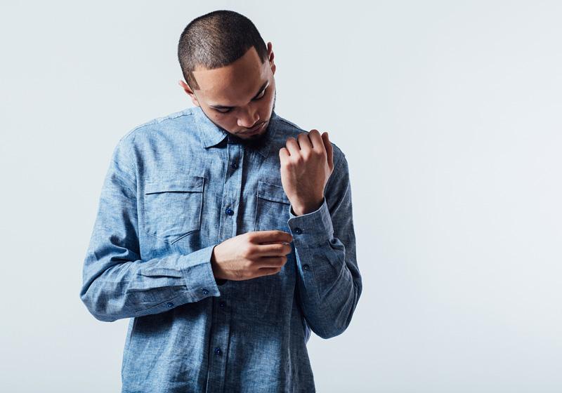 Unyforme — modrá jeansová (džínsová) košile s dlouhým rukávem, pánská — pánské trendy oblečení – jaro 2015