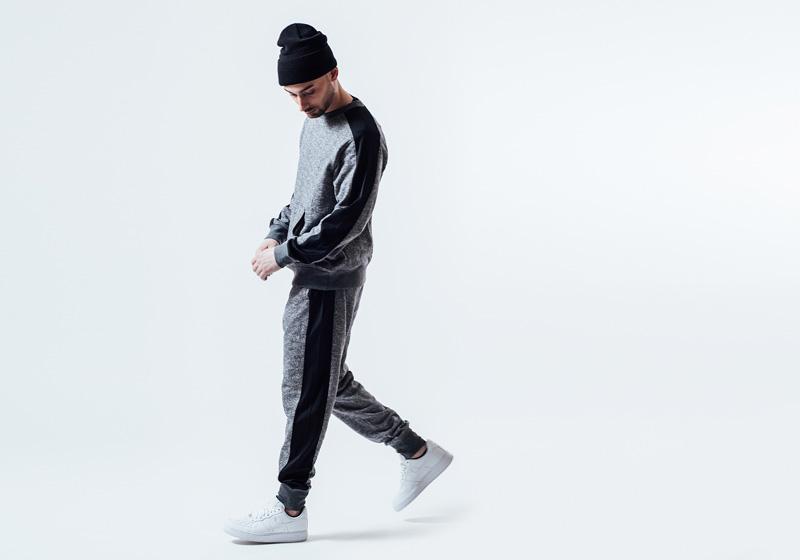 Unyforme — černo-šedé tepláky, šedo-černá mikina — pánské trendy oblečení – jaro 2015