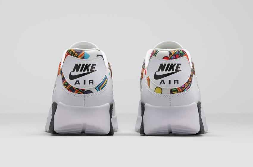 Nike Air Max 90 Liberty Merlin — dámské bílé boty se vzorem, sneakers, tenisky, zadní pohled
